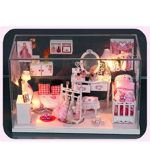 miniature children diy doll house furniture glass wood Princess Room accessories kids girl Dollhouses boxes dust with LED lights