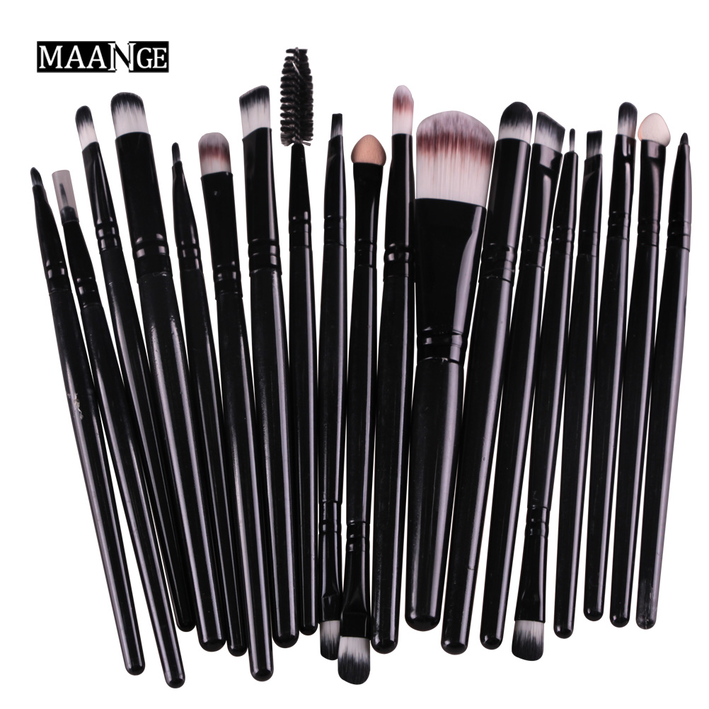 MAANGE 20Pcs Black Makeup Brushes Set Powder Blush Foundation Liquid Eyebrow Eyeshadow Eyeliner Contour Concealer Brush Kits menu чаша black contour
