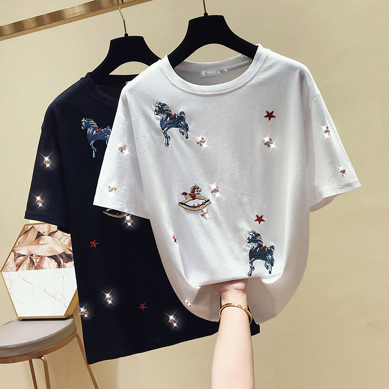 2019 Summer Women's Embroidered Sequins Short-sleeved T-shirt New S Fashion Korean Casual Loose T-shirt Female InsTees Tops