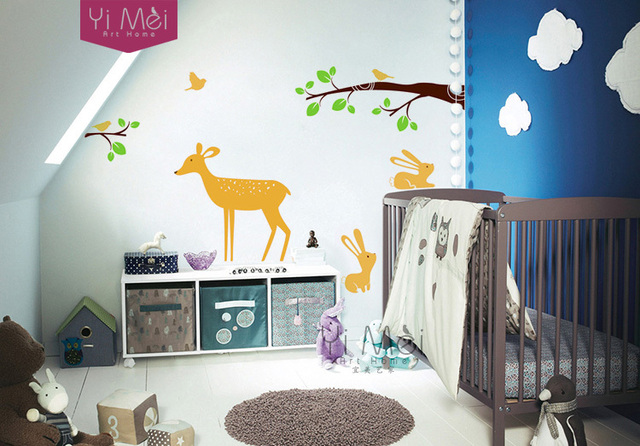 Deer rabbits brids in the forest wallpaper vinyl decal nursery childrens room wall stickers