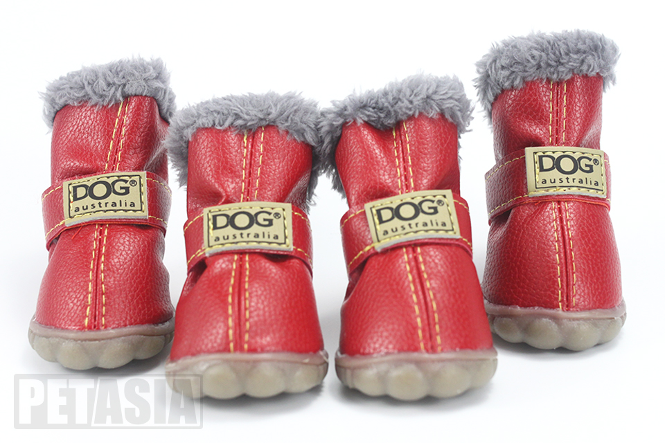 winter dog boots red