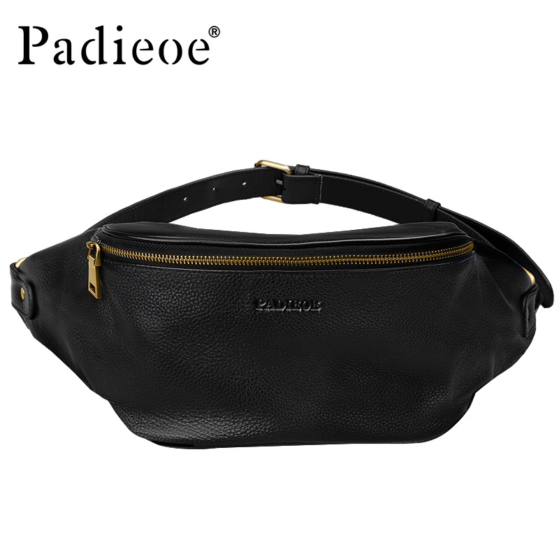 Padieoe Genuine Leather Men Chest Pack Famous Brand New Design Travel Crossbody Bag for Male High Quality Fashion Waist Bags genuine leather famous brand padieoe messenger bag high quality men shoulder crossbody bags fashion casual chest bag for men