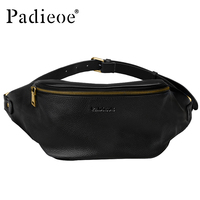 Padieoe Genuine Leather Men Chest Pack Famous Brand New Design Travel Crossbody Bag for Male High Quality Fashion Waist Bags