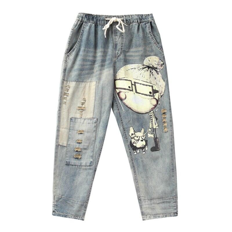 Women Spring Autumn Fashion Brand Vintage Cartoon Dog Little Girl Print Denim Jeans Female Casual Frayed