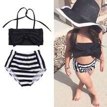 New 2017 Baby Kids Girls Bikini Set Swimwear Striped Swimming Bathing Suit Swimsuit 2-7Y