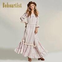 Off Shoulder Ruffle Print Long Dress Women Floral Boho Summer Dress 2017 Sexy Elastic Waist Maxi