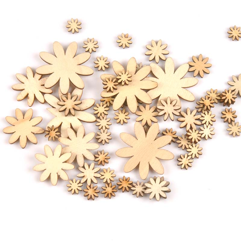50pcs Natural Mix Flower Pattern Wood Scrapbooking Carft For Home Decoration Party Ornament Diy 10-35mm MT0668
