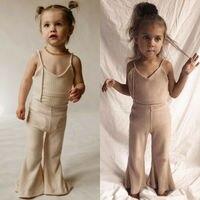 Одежда для новорожденных девочек, Ромпер Для слинга + широкие штаны, комплект одежды, Детские расклешенные штаны, модные сарафаны
