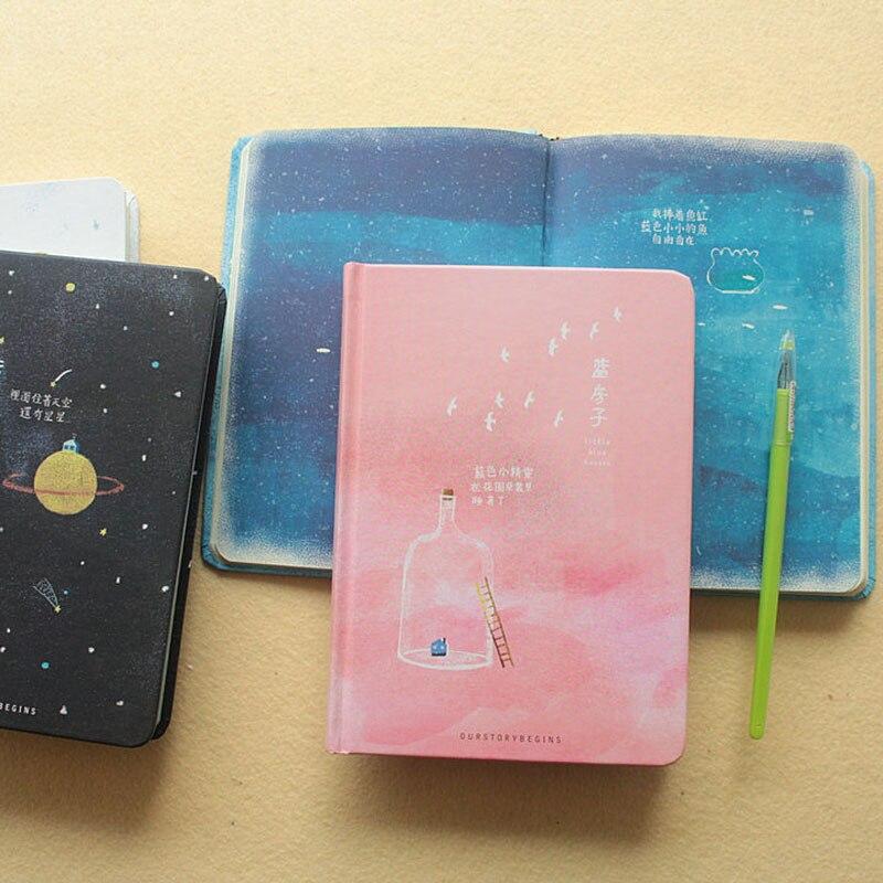 Tendenza creativa Pagine a Colori Notebook A5 Little Blue Casa Libro del Diario Hardcover diario Corea Materiale Scolastico di Cancelleria
