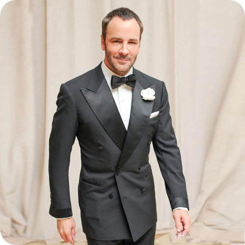 TPSAADE Black Groom Tuxedo Mens Double Breasted Slim Fit Wedding Suits Men Blazer Peaked Lapel 2 Pieces Terno Masculino(China)