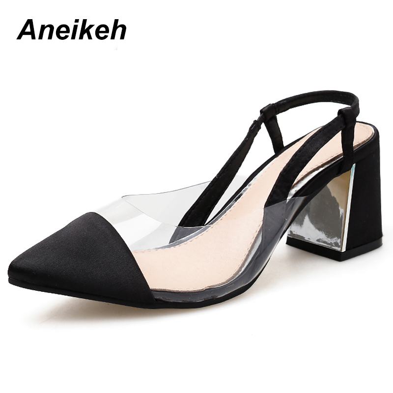 Aneikeh Newest PVC Transparent Sexy Sandals Pointed Toe High Heels Shoes Women Shallow Gladiator Sandals Summer Black Size 35-40Aneikeh Newest PVC Transparent Sexy Sandals Pointed Toe High Heels Shoes Women Shallow Gladiator Sandals Summer Black Size 35-40