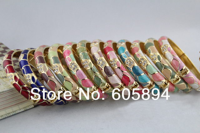 High Quality Chinese Cloisonne Enamel Brand Gold plated Bracelets CZ Rhinestone Beetle Bangles For Women Gift Jewelry