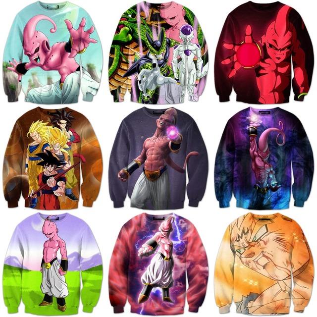 Dragon Ball Z Goku Majin Buu Print Pullovers
