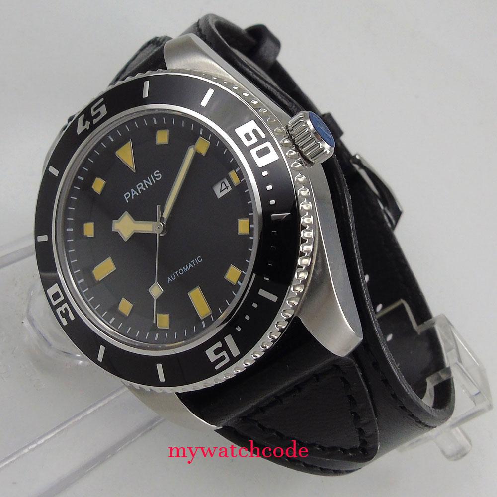 43mm parnis black dial Sapphire Glass 21 jewels miyota automatic mens Watch 704B цена и фото