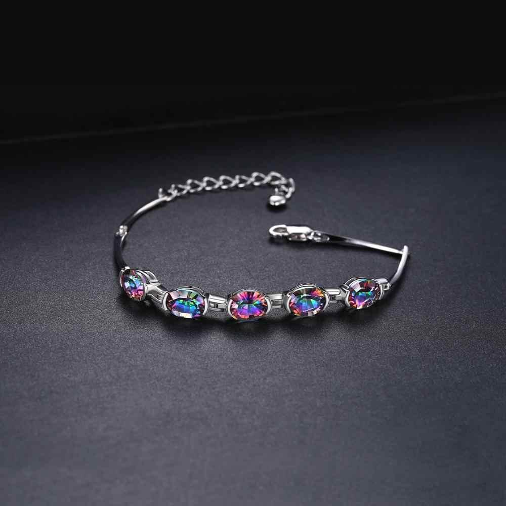 JewelryPalace Natural Topacio místico genuino Plata de Ley 925 pulsera de cadena de enlace pulsera accesorios de la joyería de las mujeres
