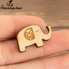 Shuangshuo Fashion Jewelry Wooden Elephant Broches Pins For Women Wood Animal Pin Lapel Brooch Elephant Jewelry Collar Pins(China)