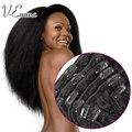 Malasia pelo de la virgen, recto rizado Clip en extensiones de cabello, color 1b / negro natural, envío libre de DHL fast