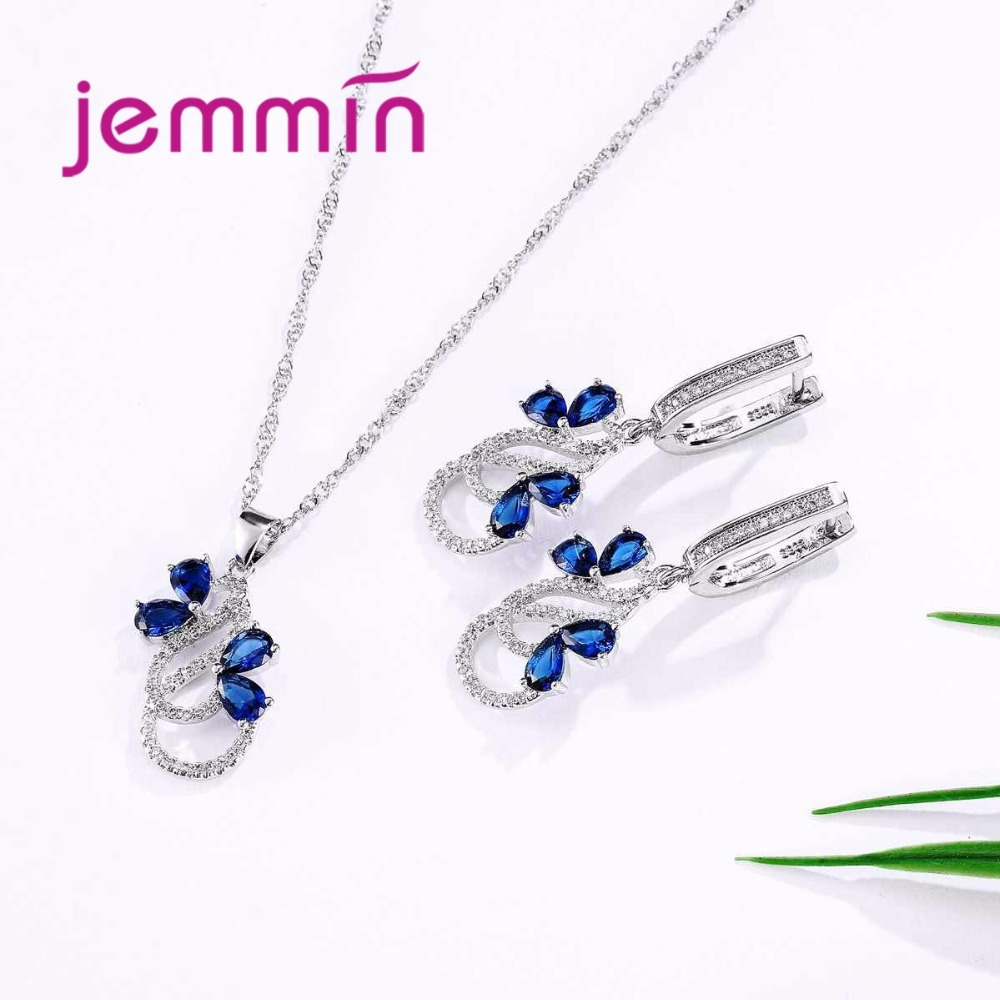 HTB1zNDGXU6FK1Jjy0Fpq6zFqVXa4 Luxury 925 Sterling Silver Necklace Earrings Set For Women Female Party Bule Austrian Crystal Jewelry High Quality