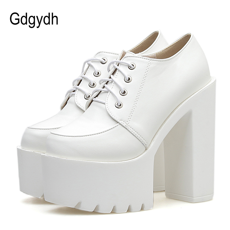 Gdgydh Spring Autumn High-heeled Shoes Women Pumps Platform Heels Black White Leather 2020 New Lacing Casual Shoes Comfortable