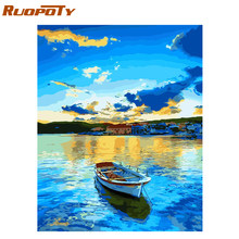 RUOPOTY Frame Lake Boat DIY Painting By Numbers Painting Calligraphy Acrylic Paint By Numbers For Home Wall Decor 40x50cm Arts(China)