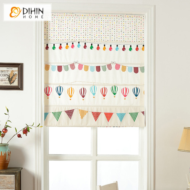 Included Curtains Cartoon Children Blackout Curtain Thickening Linen/Cotton  Striped Roman Shade Blinds The Finished