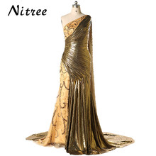 2017 Custom Made Islamic Long Evening Dress Crystals One Shoulder Cloak Party Gowns Arabic Dubai Kaftan Moroccan