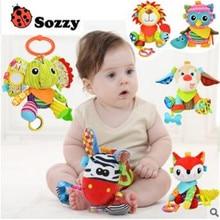 Elephant Fox Lion Owl Monkey animals Stuffed plush toys Baby Stroller Rattle toys dolls with teether juguetes