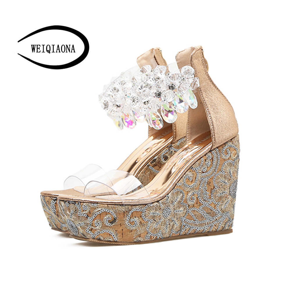 WEIQIAONA Fashion Women shoes Summer Wedges Embroidered Platform Sandals crystal slippers open toe high-heeled Female shoes women sandals shoes 2017 summer shoes woman gladiator wedges cool fashion rivet platform female ladies casual shoes open toe