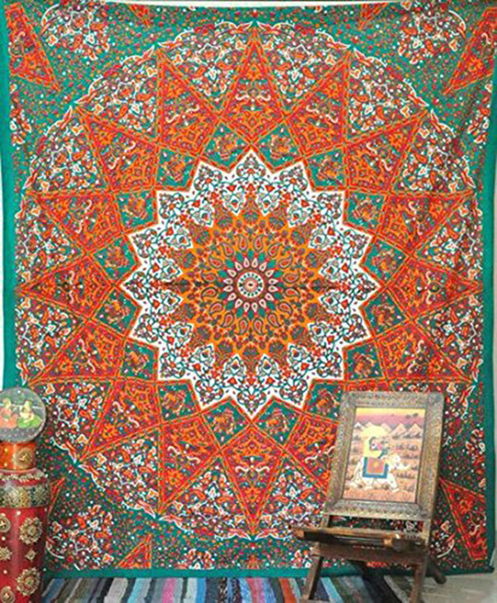 Enipate 1 X Queen Indian Star Mandala Psychedelic Tapestry,Hippie Bohemian Wall Hanging Tapestries,Ethnic Home Decor 145*145cm