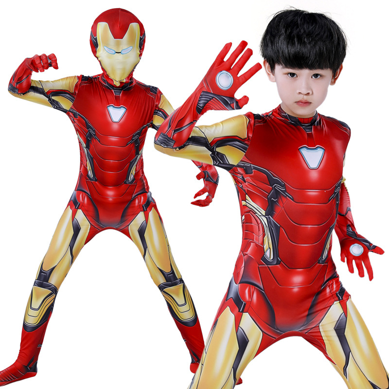 Image 2 - Iron Man Costume Adult Kids Endgame Superhero Costume Iron Man Cosplay Jumpsuit Halloween Costume For Adult Child Carnival Party
