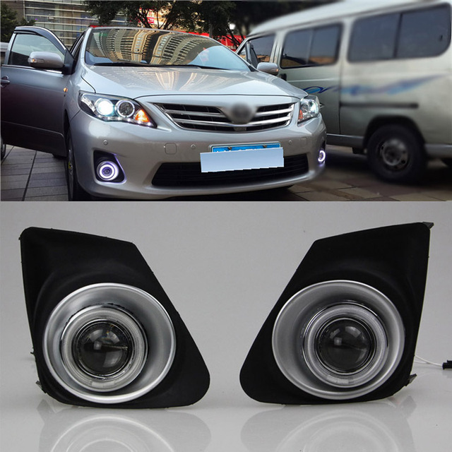 Ownsun COB Angel Eye Rings Projector Lens with 3000K Halogen Lamp Source Black Fog Lights Bumper Cover For Toyota Corolla 11 13