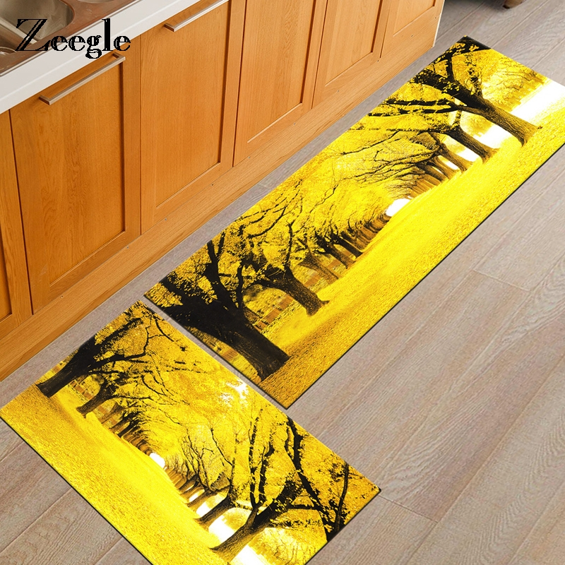 Zeegle Golden Leaves Printed Entrance Door Mats Flannel Kitchen Area Rug Anti-slip Bathr ...
