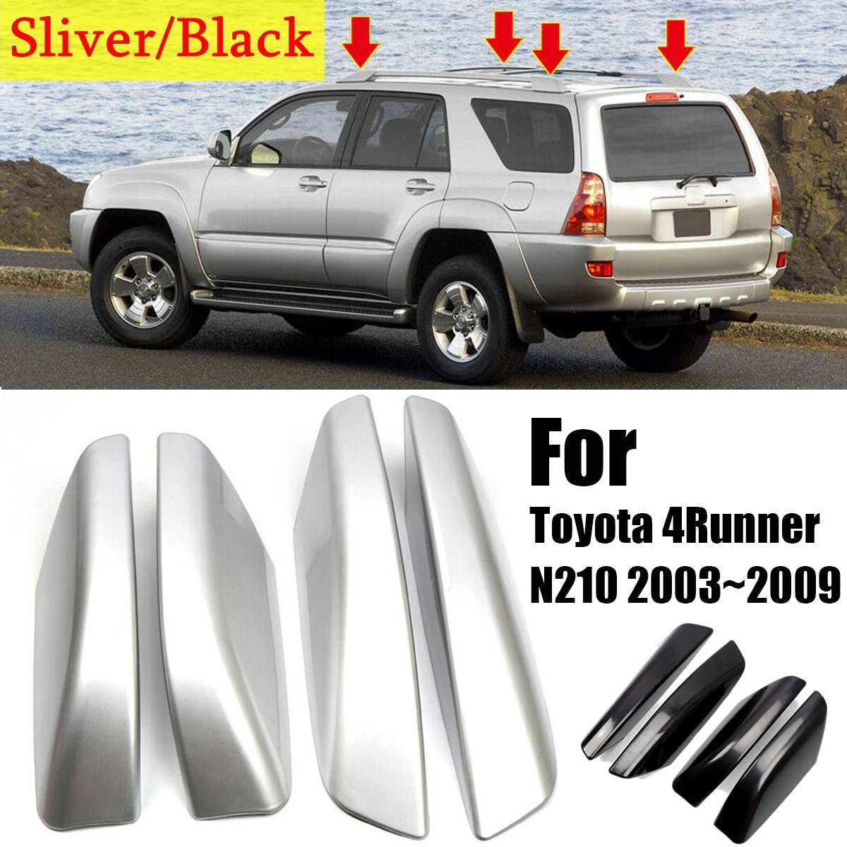 NEW 4PCS/Set Glossy Black/Silver ABS Plastic Roof Rack Bar Rail End Replacement Cover Shell For Toyota 4Runner N210 2003~2009 image