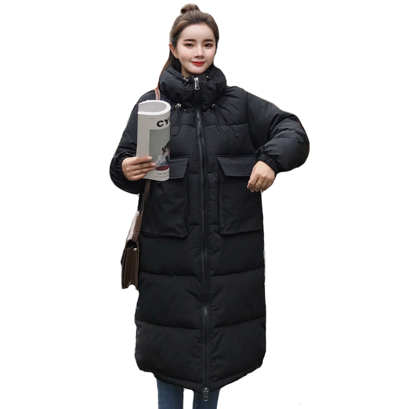 High Quality 2019 Women Winter Jacket Long Oversized Warm Outwear Womens Coat Cotton Padded   Parka   Abrigos Mujer Invierno