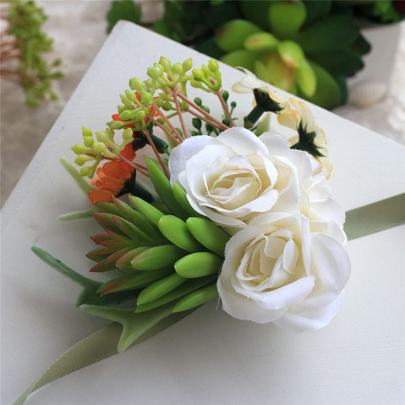 New green succulents plants white flower wedding boutonnieres new green succulents plants white flower wedding boutonnieres corsages hand made wrist flower artificial flowers prom in artificial dried flowers from mightylinksfo
