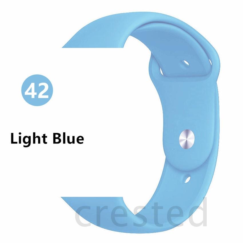 Силиконовый ремешок для apple watch 4 5 44 мм/40 мм спортивный ремешки для apple watch 3 42 мм/38 мм резиновый ремень браслет ремешок для часов apple watch Band Мягкий красочный ремешок iwatch series 4 3 2 1 - Цвет ремешка: Light Blue