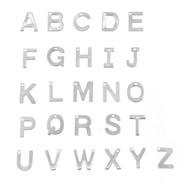English Letters Alphabet Charms Metal Stamping Little Letters A-Z Pendant Stainless Steel Wholesale 130pcs (26x5piece from A-Z)