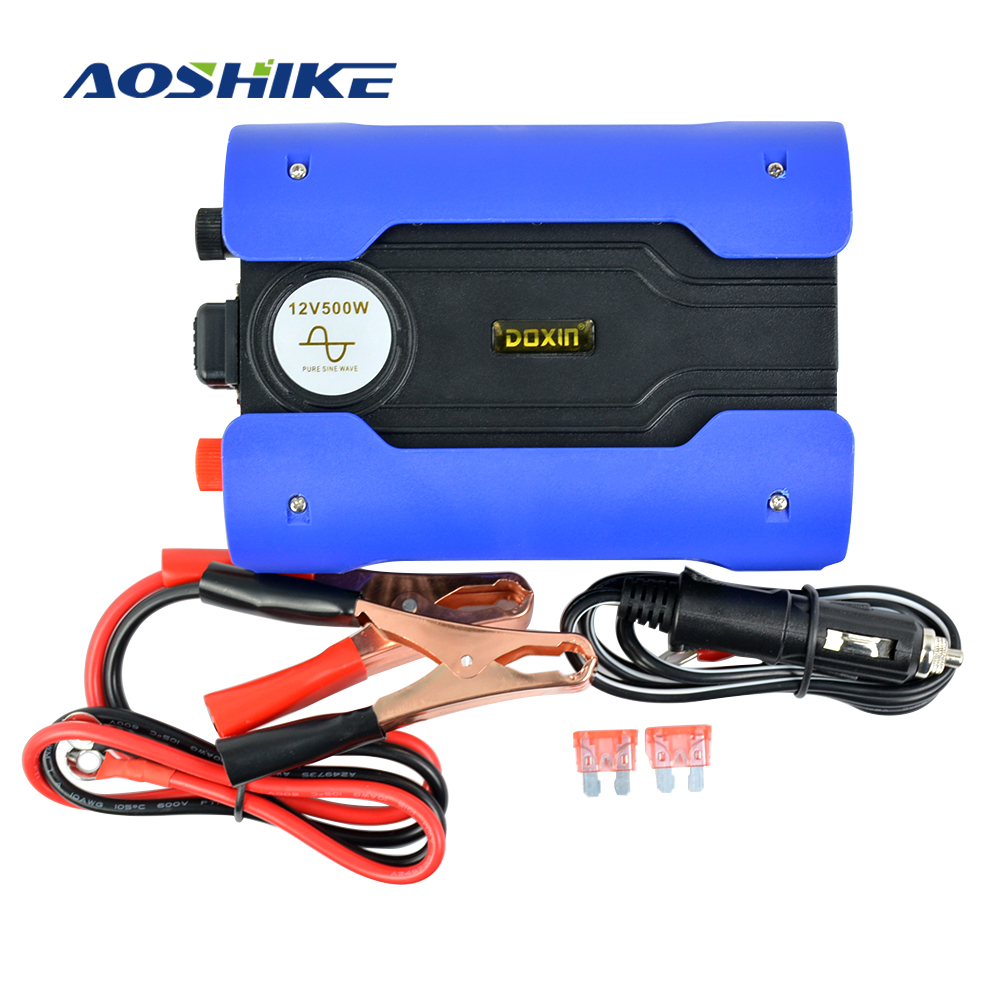 Aoshike Pure Sine Wave 500W Inverter DC 12V to AC 220V Power Converter Inversor USB Charging and CE Certification Home DIY aoshike usb 1500w watt dc 12v to ac 220v