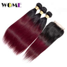 Wome Burmese Straight Hair With Closure Ombre T1B/99J Black To Red Wine Hair Weave 3 Bundles With 4x4 Lace Closure Non-Remy(China)