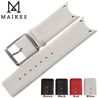 MAIKES Good Quality Genuine Leather Watch Strap Band White Watchbands For CK Calvin Klein KOH23101 KOH23220