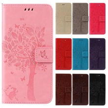 3D Tree Phone Cases for iPhone 7 6 6S 5 5S 5C SE 4 4S Luxury Wallet Flip Leather Stand Cover for iPhone6s Plus Cartoon Cat Coque