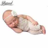 Bambino appena nato Bianco Mohair Costume Fasce Set Infant Crochet Outfit Neonato Photography Puntelli Bambino Photography Accessori