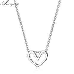 ANENJERY 925 Sterling Silver Hot Fashion Hollow Love Heart Necklace For Women Best Gift Necklace collares S-N281