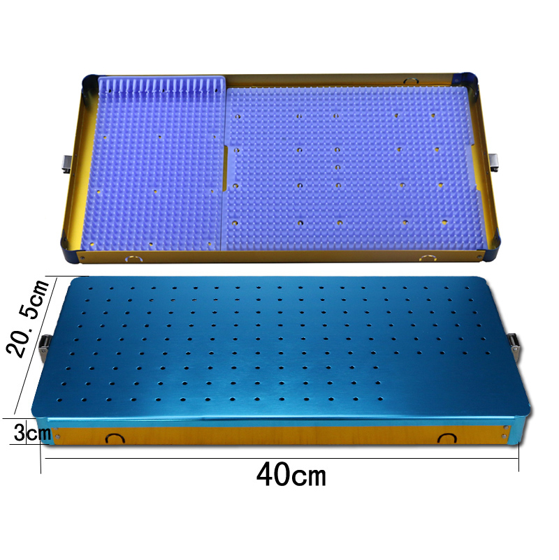Autograft stainless steel Disinfection box sterilising tray with Silicone pad 40*21*3CM Y 3cm huge