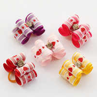 Armi store Handmade Accessories Pet Love Printed Ribbon Valentine's Day Bow 6021027 Dog Rubber Band Head Flower