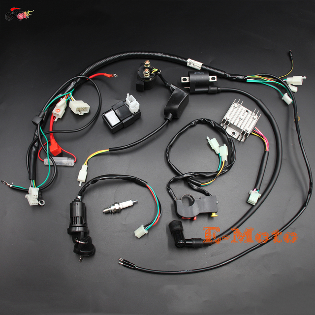 Wiring Loom Harness Key switch CDI Ignition Coil D8EA Spark Plug for