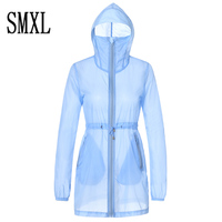 Hot Sell 2017 Summer Fashion Rainbow Color Sun UV Protection Clothing Female Hooded Jacket Thin Breathable