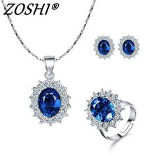 Silver Plated Jewelry Set bride Sets blue crystal flower necklace adjustable ring earrings Jewelry Set for women Wedding Bijoux(China)