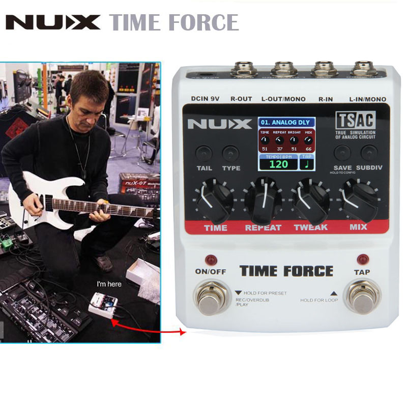 NUX Guitar TIME FORCE Guitar effect Pedal delay Multi Digital 11 Delay Effects pedal de guitarra Capo Guitarra Accessories nux 1 8 lcd time force delay guitar effect pedal white black