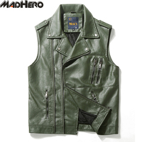 MADHERO PU Leather Vests Zipper Men S Motorcycle Vest Good Quality Keep Warm Lining Biker Sleeveless